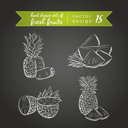 Pineapple. Set of fresh fruits, whole, half and bitten with leaf. Vector Illustration Keywords: Isolated on blackboard. |
