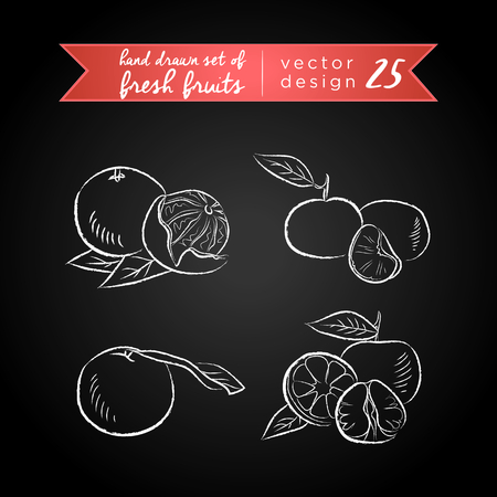 Tangerine. Set of fresh fruits, whole, half and bitten with leaf. Vector Illustration Keywords: Isolated on blackboard. | Illustration
