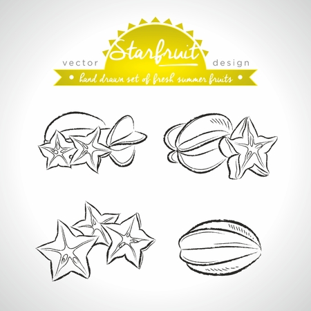 Star fruit, Collection of fresh fruits with leaf. Vector Illustration Keywords: Isolated Standard-Bild - 123717527