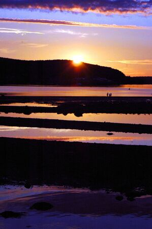 nightfall: bar harbor maine,nightfall Stock Photo