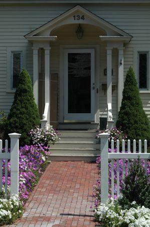 doorway with brink walkway