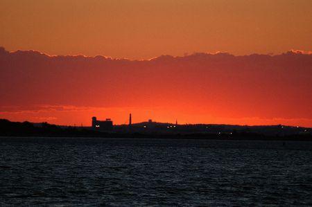 industrail: sunset of the Boston skyline in Massachusetts
