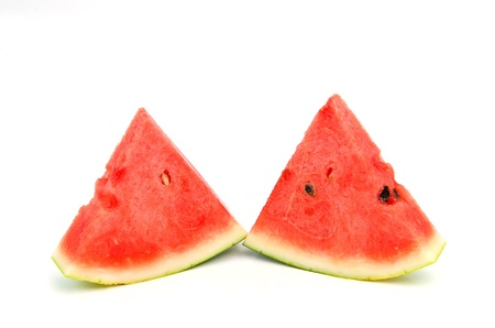 Sweet watermelon slices isolated on white Stock Photo - 16159147