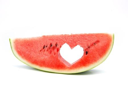 Watermelon with heart isolated on white background Stock Photo - 16258587