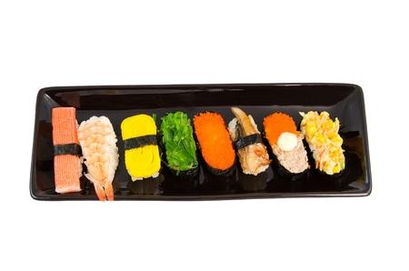 japanese sushi on a black plate  Stock Photo