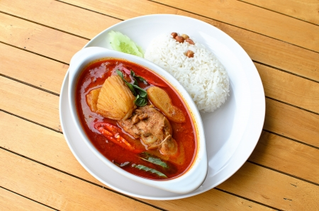 Thai food, Chicken massaman curry with steamed rice photo