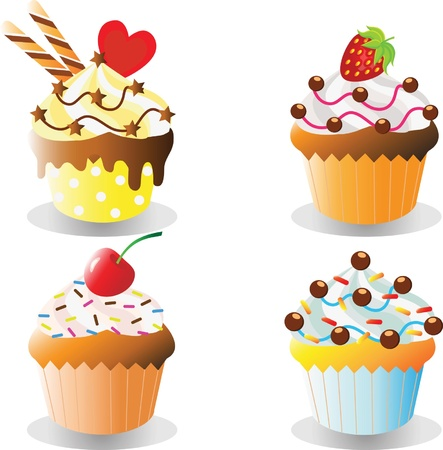 Set of delicious cupcakes isolated on white background Vector