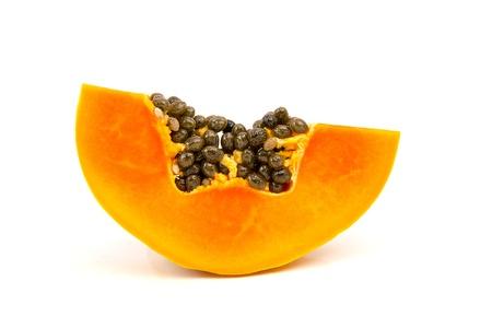 cutaneous: sliced papaya isolated on a white background