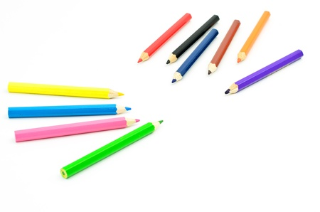 different colored pencils on white background Stock Photo - 16767452