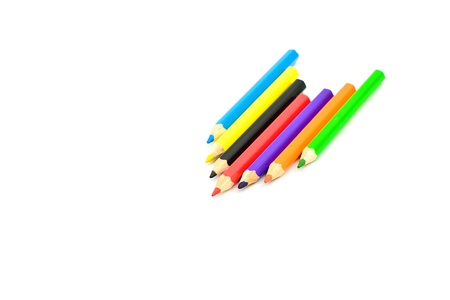 different colored pencils on white background Stock Photo - 16766698