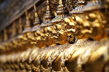 Close up of Garuda decoration on chapel base at Grand Palace, Phrakaew temple, Bangkok, Thailand