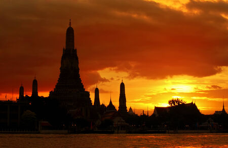 Silhouette of Wat Arun at sunset,The Temple of Dawn, Bangkok ,Thailand Stock Photo