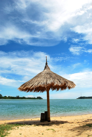 Umbrella on the Tropical beach in in sunny day, Phuket Thailand Stock Photo