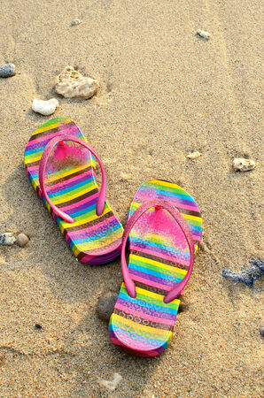 Beach sandals on the seashore