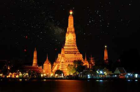 Wat Arun in the Milky Way on a cloudless night,The Temple of Dawn, Bangkok ,Thailand