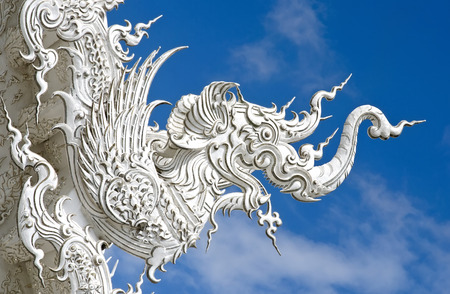 Element of Thai Art, decoration with white elephant on roof at Wat Rong Khun, the famous White temple at Chiangrai province in Thailand