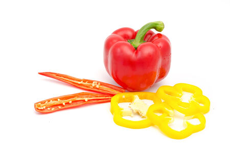 Pepper and Bell Pepper slice isolated on white background