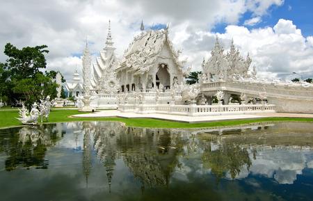 Beautiful art of white temple in Thailand ,Wat Rong Khun, Chiang Rai  Stock Photo
