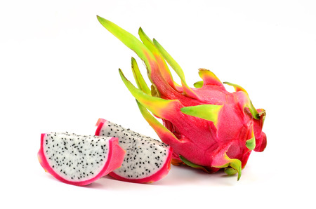 Pitaya or Dragon Fruit isolated against white background  Stock Photo