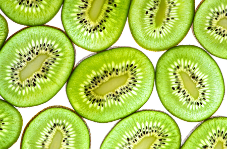 Abstract Photo of Green Kiwi Fruit, isolated on white background