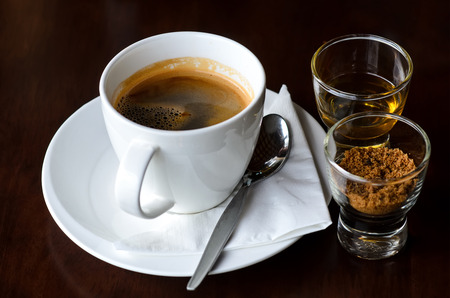 Fresh Brewed Coffee with Brown Sugar and Simple Syrup Stock Photo