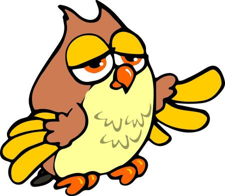 serious owl Illustration