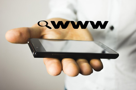 Search loupe magnifier WWW web icon Stock Photo