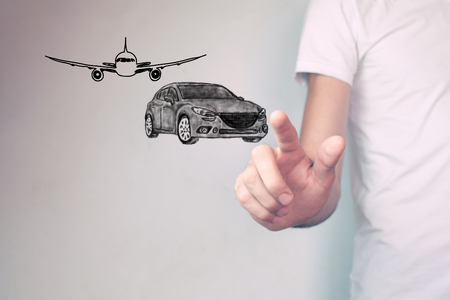 aircraft and  car Stock Photo
