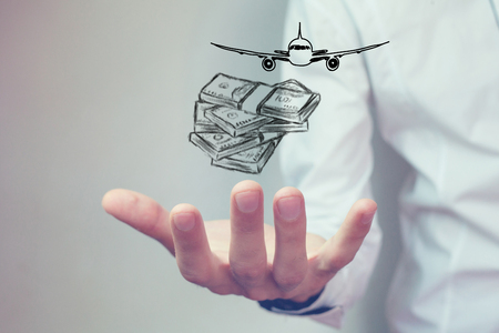 money and airplane Stock Photo