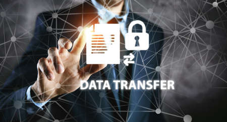 business concept secure date transfer.