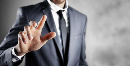 finger touches virtual screen press 版權商用圖片