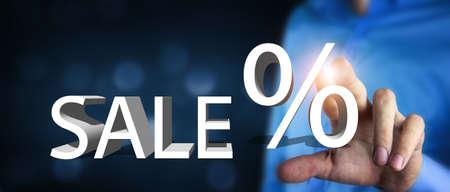 Sale percent discount% text sale. 版權商用圖片