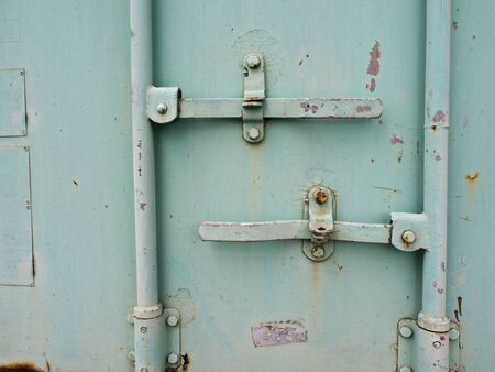 consignment: Close up to Containner door and dowel lock Stock Photo