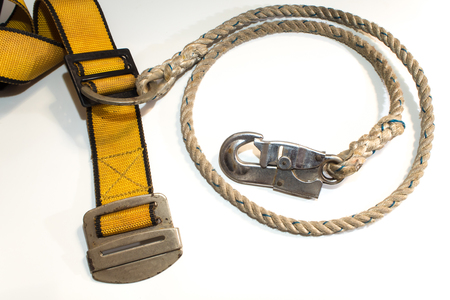 Hook and rope with Yellow belt of Safety Equipment