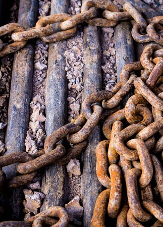 rusty chain: Rusty chain at construction site
