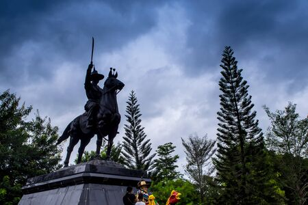 high altar: Equestrian Statue of King Located on the high altar of worship. Under overcast skies