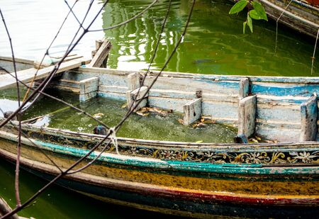 drowned: Old Boat decaying and drowned in lake