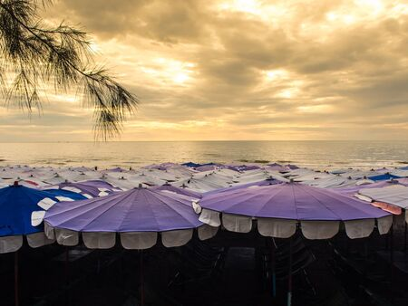 crowded: Large umbrella crowded along Cha-Am beach