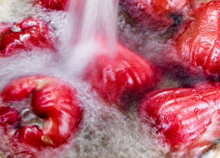 Wash the Rose apple in water Stock Photo