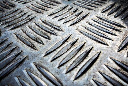 Texture of non slip metal checker plate Stock Photo