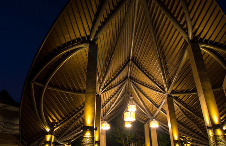 The modern roof and lighting at night