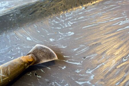 when: Texture of metal surface as the primer paint layer when the top coat paint scraped