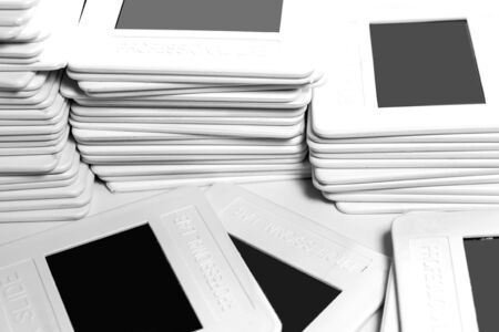 Set of old reversal film in plastic frame Stock Photo - 93855422