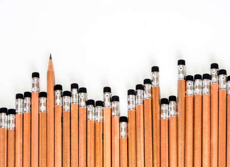 Sorted in a neatly organized pencil and eraser at the end Stock Photo