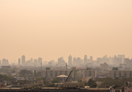 Bangkok, Thailand - Feb 13, 2018 Bangkok City downtown cityscape urban skyline in the mist or smog. Wide and High view image of Bangkok city in the soft light