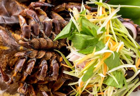Close up the Asia seafood - Spicy Sea Pimp egg salad