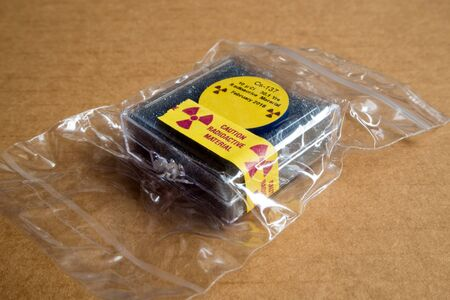 Small Radioactive seal source Cesium 137 in the Plastic package