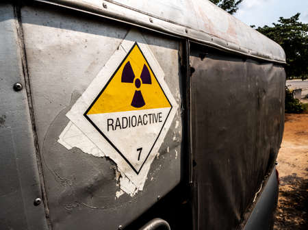 Radiation warning sign on the Hazardous materials transport label Class 7 at the transport truck