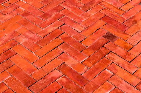 Texture of red brick ZigZag Seam flooring and pathway
