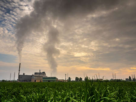 Smoke from the boiler and the steam from the cooling tower in the power plant. It is located in the middle of an agricultural area Standard-Bild